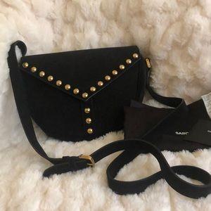 YSL Saint Laurent Black Suede Studded Besace Bag
